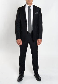 Cosiani Black Slim Fit Wool Cashmere Suit
