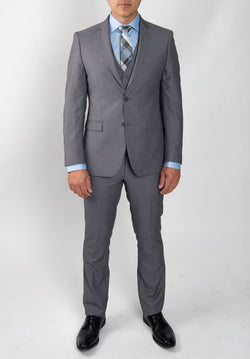 Light Grey Slim Fit Wool Blend Suit