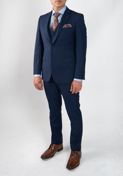 Cosiani Light Navy Slim Fit Wool Blend Suit