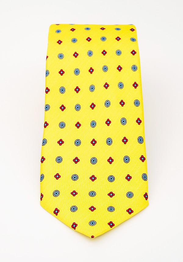 Yellow Floral Silk Tie