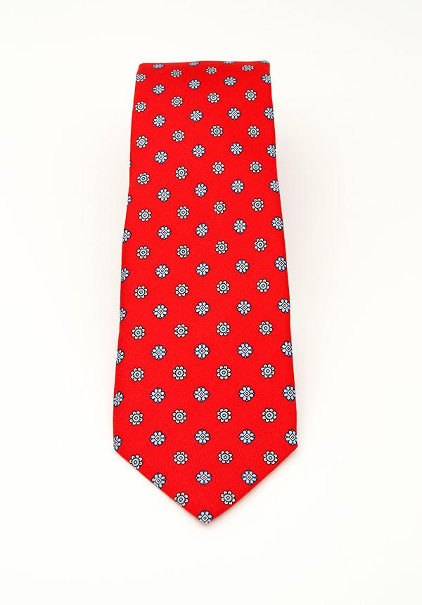 Candy Red Floral Silk Tie
