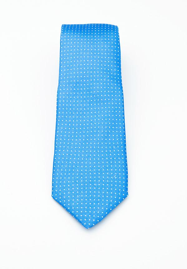 Sky Blue Small Dotted Silk Tie