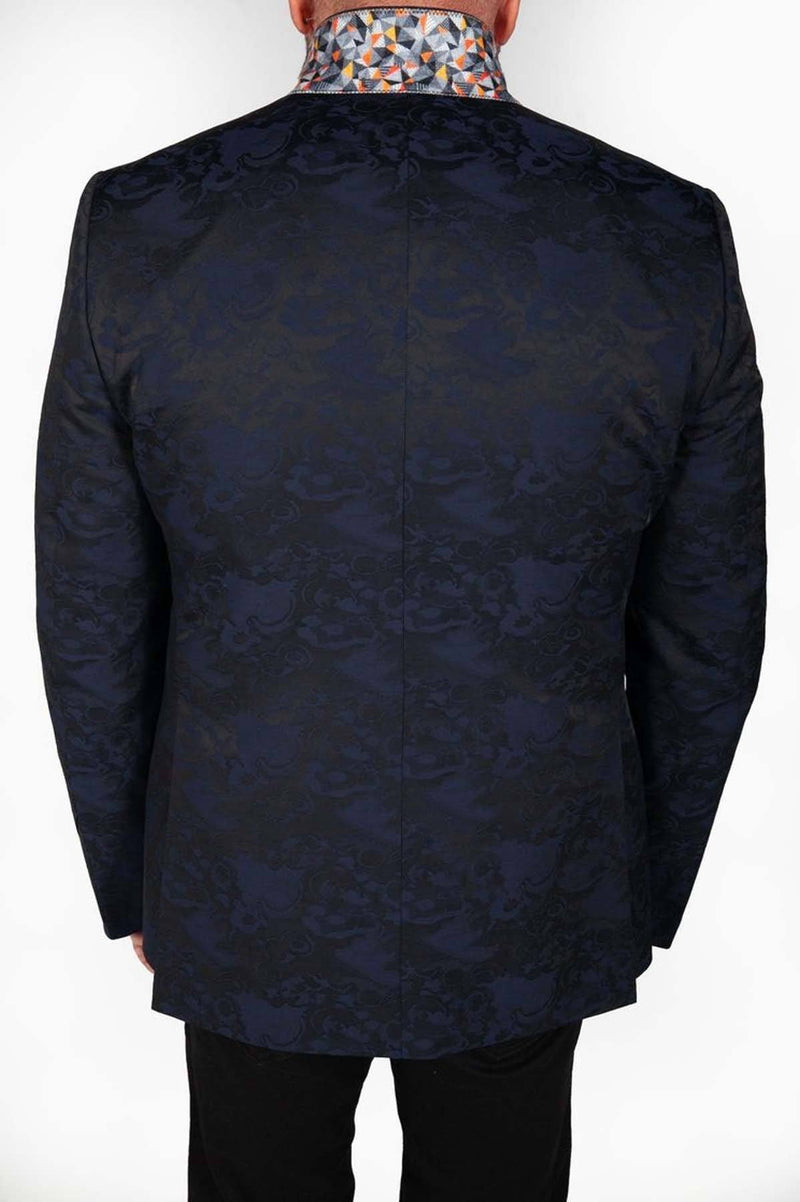 Midnight Blue Floral Jacket with Orange Stitch