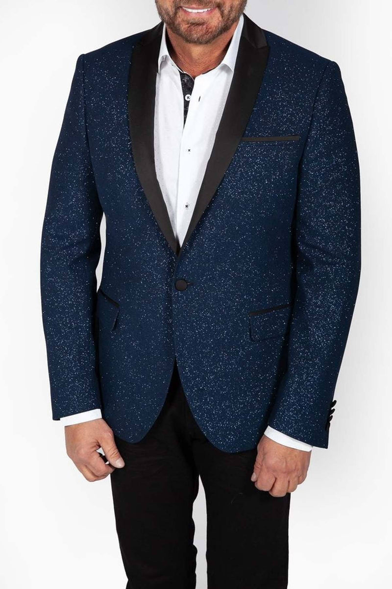 Shawl Lapel Blue Sparkle Jacket