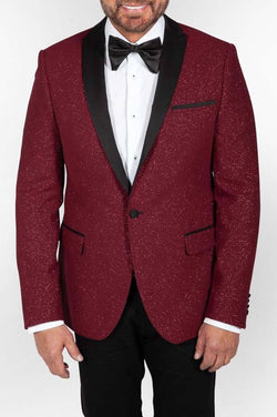 Shawl Lapel Red Sparkle Jacket