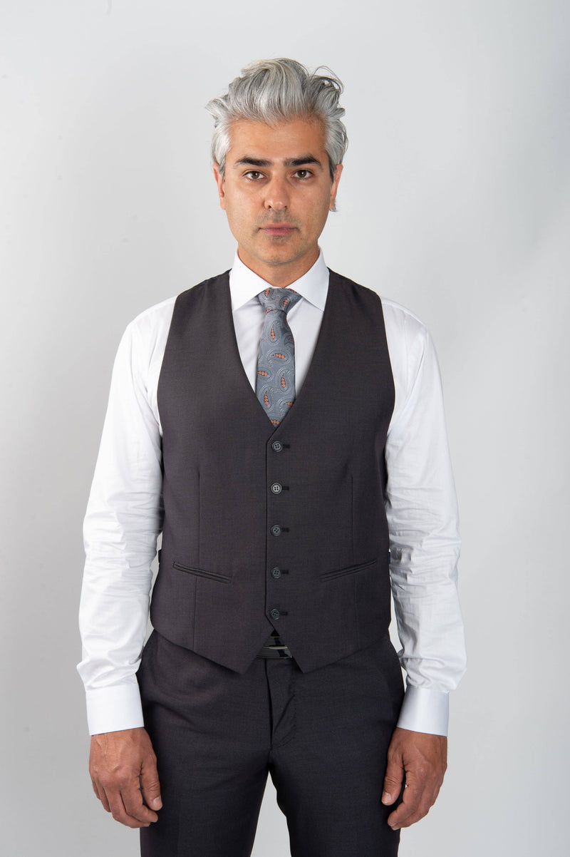 Cosiani Charcoal Slim Fit Wool Blend Suit