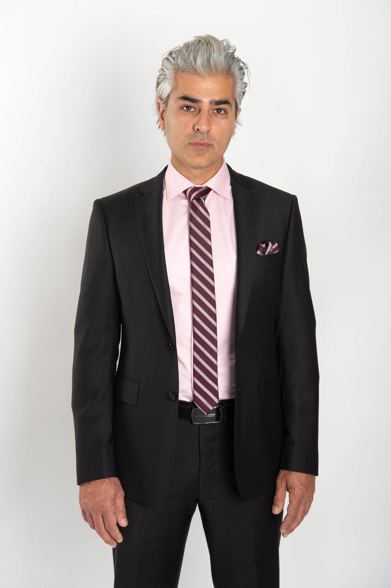 Cosiani Charcoal Slim Fit Wool Cashmere Suit
