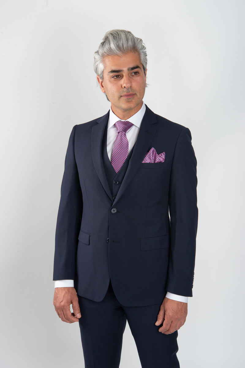 Cosiani Navy Slim Fit Wool Blend Suit