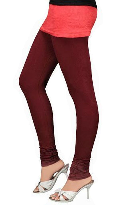 01 Deep Maroon Indian Churidar Legging 4Way Strech One Size : Fits All Adults
