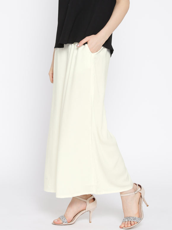 Off White - Women's Palazzo Trousers Wide Legs - One Size : Fits All Adults