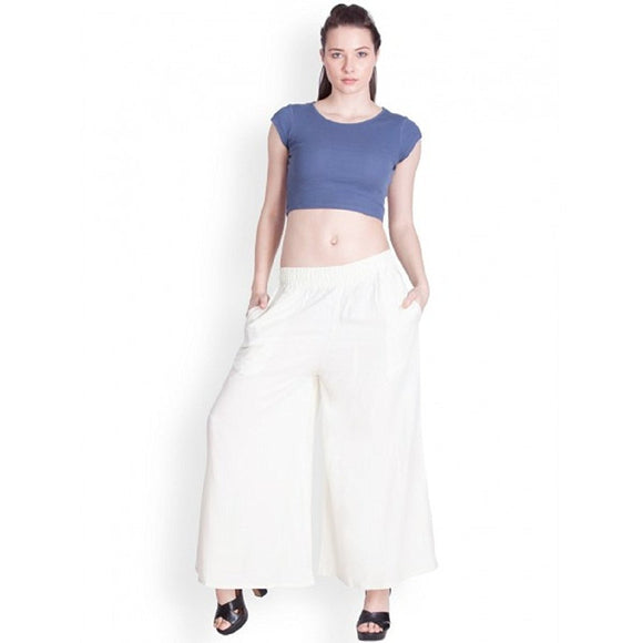 White - Women's Palazzo Trousers Wide Legs - One Size : Fits All Adults