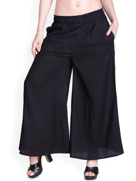Black - Women's Palazzo Trousers Wide Legs - One Size : Fits All Adults