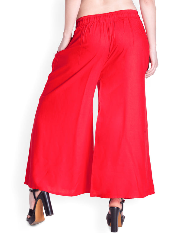 Red - Women's Palazzo Trousers Wide Legs - One Size : Fits All Adults