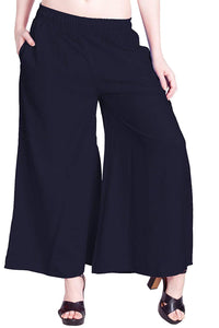 Navi Blue - Women's Palazzo Trousers Wide Legs - One Size : Fits All Adults