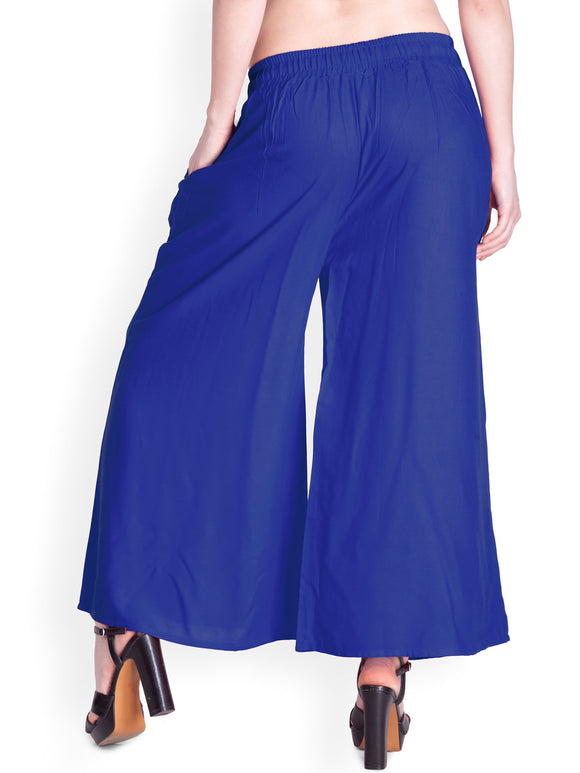 Royal Blue - Women's Palazzo Trousers Wide Legs - One Size : Fits All Adults