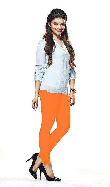 104 Neon Orange Indian Churidar Legging 4Way Strech One Size : Fits All Adults