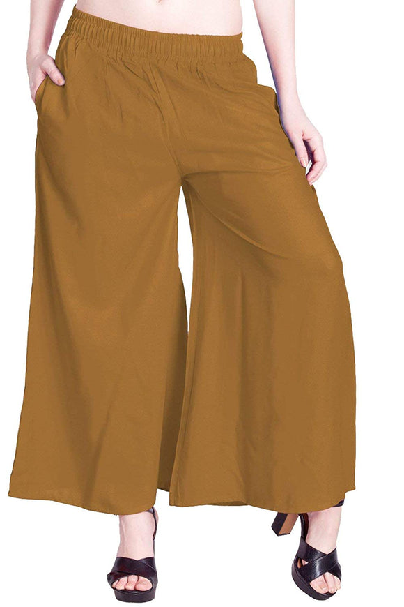 Amber Gold - Women's Palazzo Trousers Wide Legs - One Size : Fits All Adults