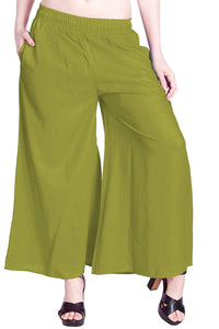Parrot Green - Women's Palazzo Trousers Wide Legs - One Size : Fits All Adults