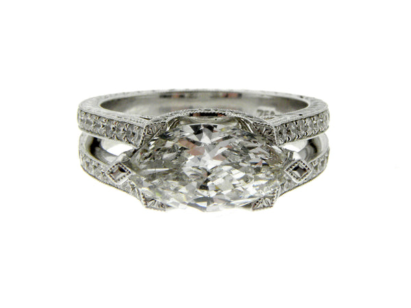 Custom Made 1.63ct Marquis Diamond 18K Gold Ring