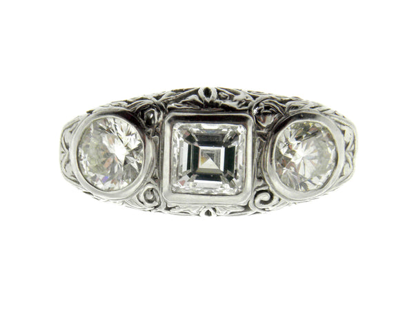 Edwardian Style 1ct. Square Emerald Cut Diamond Platinum Ring