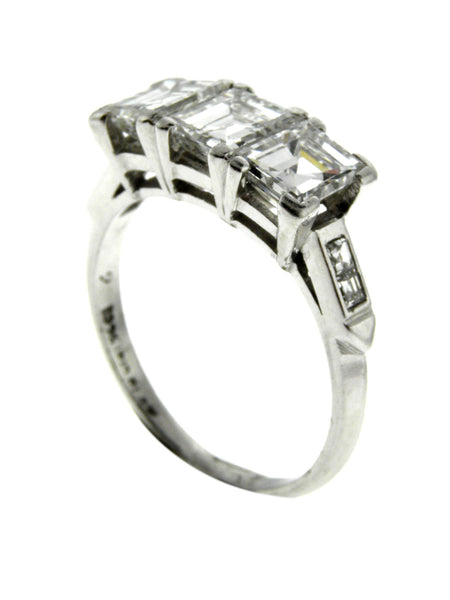 Art Deco 3ctw. Square Emerald Diamonds Platinum Ring