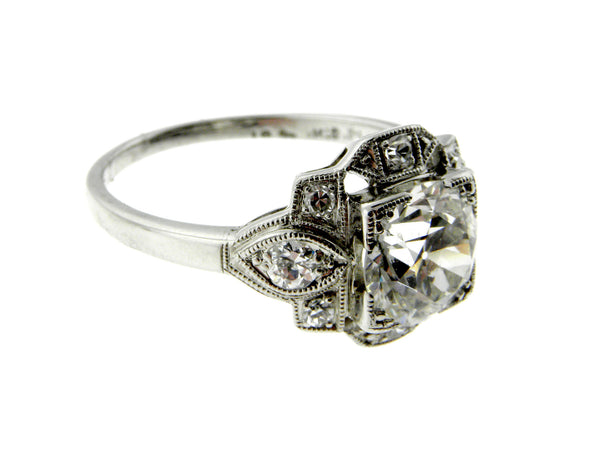 1930s Estate 1.3ct. Old European Cut Diamond Platinum Ring