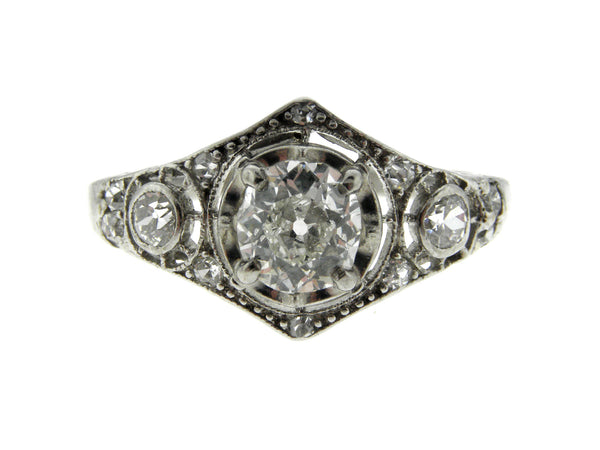 Art Deco .60ct. Old Mine Cut Diamond Platinum Ring