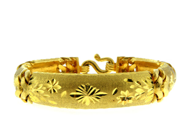 24K Yellow Gold Engraved Link Bracelet