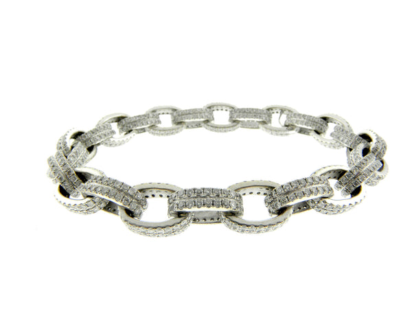 18K Diamond Oval Link Bracelet
