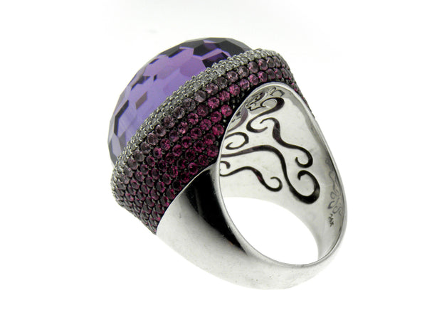 Faceted Domed Amethyst, Pink Sapphire, and Diamond Swirl Ring