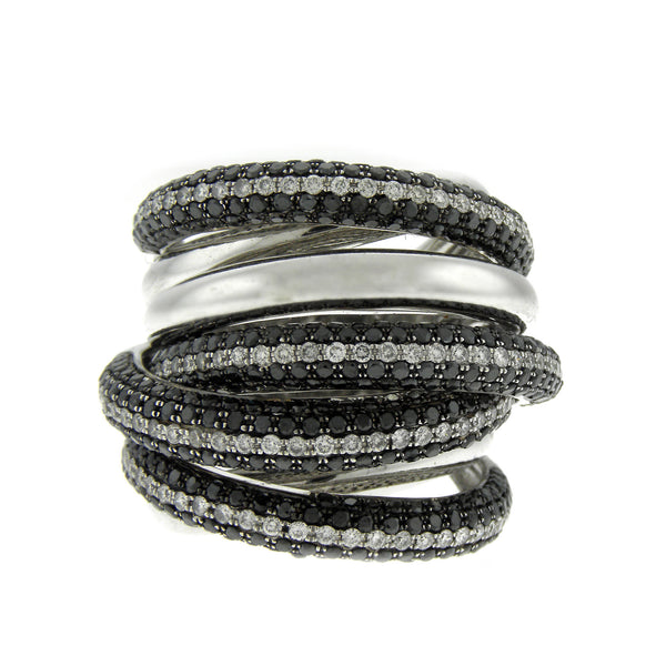 Odelia Black and White Diamond Pave Ring