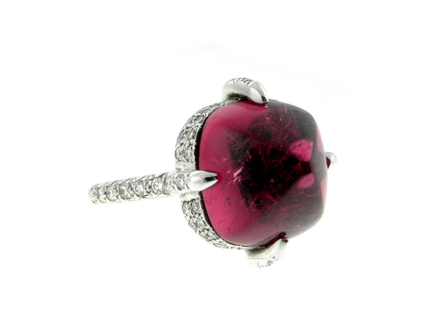 Pink Tourmaline Cabochon and Diamond Ring
