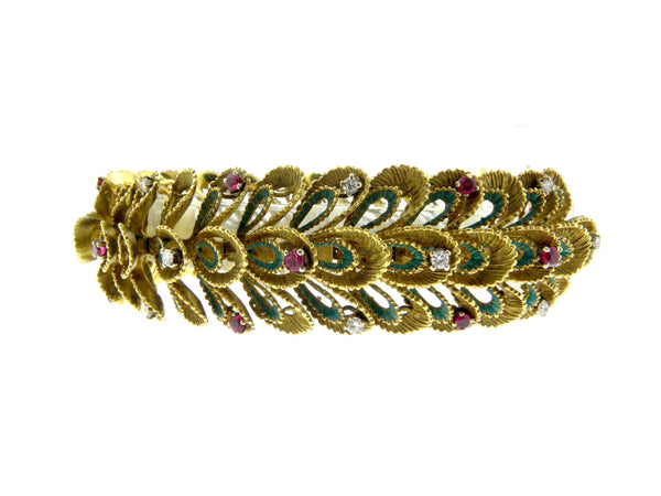 Vintage French Yellow Gold Bracelet with Diamonds and Rubies