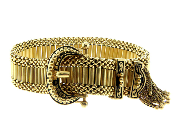 Victorian Yellow Gold and Enamel Buckle Bracelet