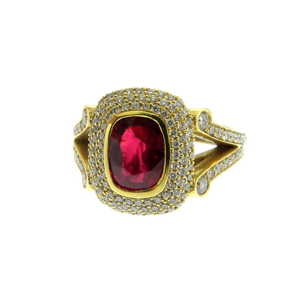 Natural Ruby and Diamond Yellow Gold Ring