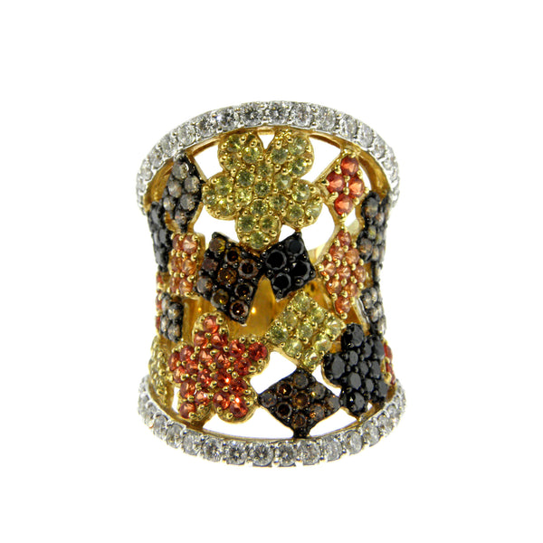 Diamond and Sapphire Floral Pattern Yellow Gold Ring
