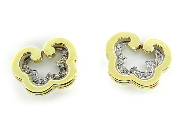 Yellow Gold & Diamond Butterfly Earrings