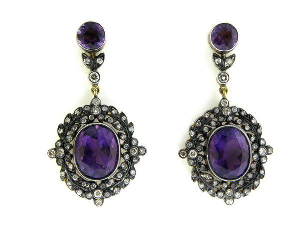 Antique Diamond & Amethyst Drop Earrings