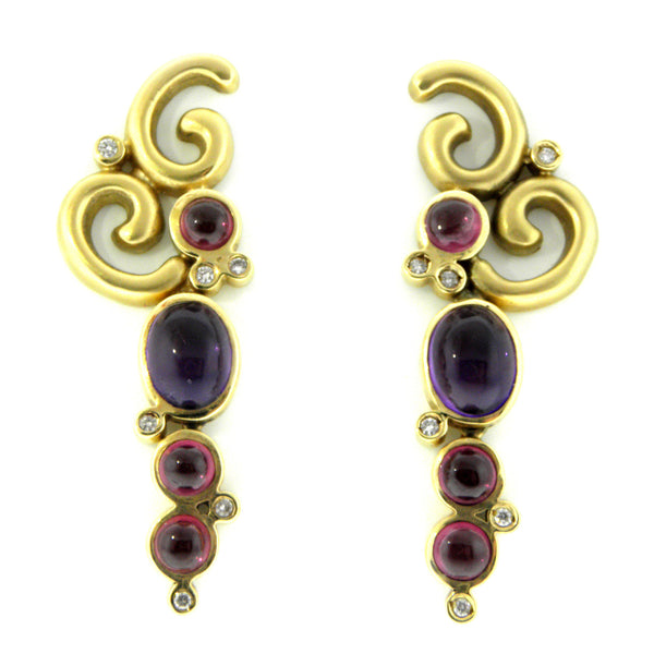 Rhodolite Garnet, Amethyst & Diamond Curvy Earrings