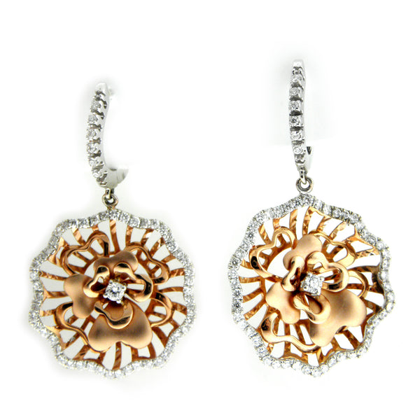Simon G Rose Gold & Diamond Flower Earrings