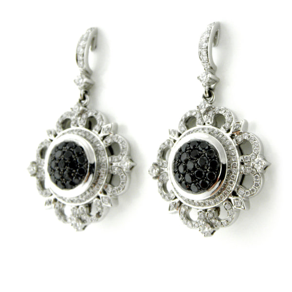 NY Charles Krypell Black & White Diamond Earrings