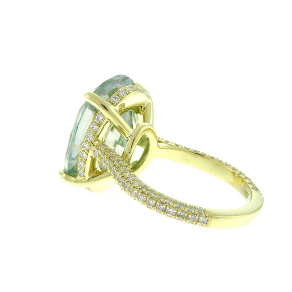 Custom Large Green Moissanite Oval Yellow Gold Diamond Pave Ring