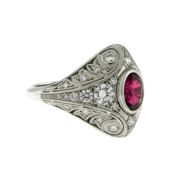 Ruby & Diamond Platinum Filagree Ring