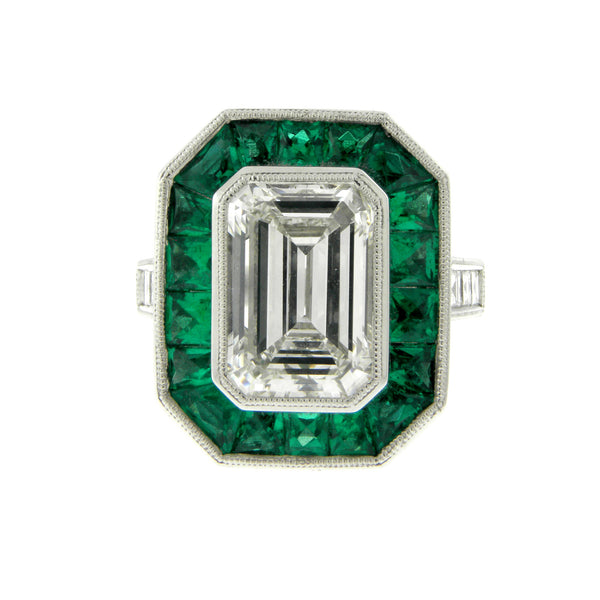 Emerald Cut Diamond & Emerald Platinum Ring