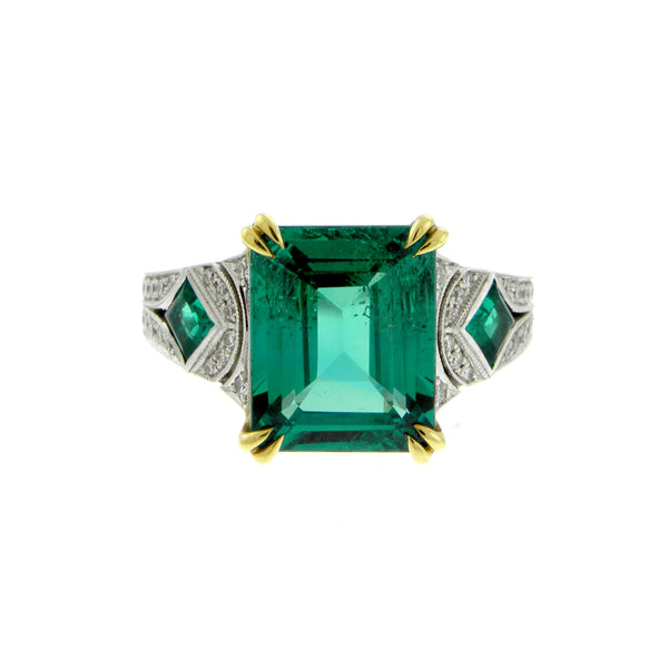 Emerald & Diamond Two-tone Gold Ring