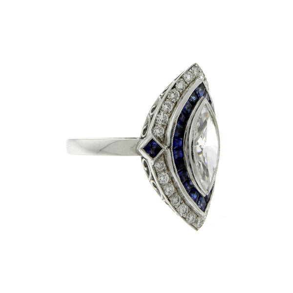 Marquis Diamond & Blue Sapphire White Gold Ring