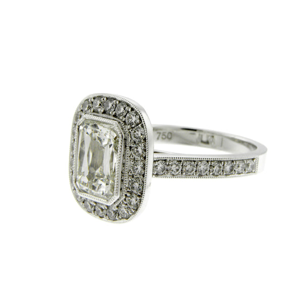 Emerald Cut Diamond & Diamond Halo White Gold Ring