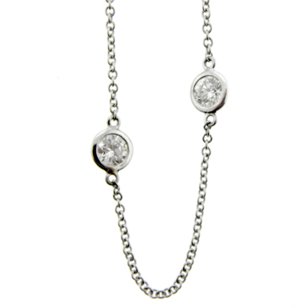 Diamond Station Necklace in White Gold