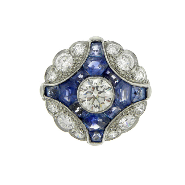 Deco Style Diamond and Sapphire Ring