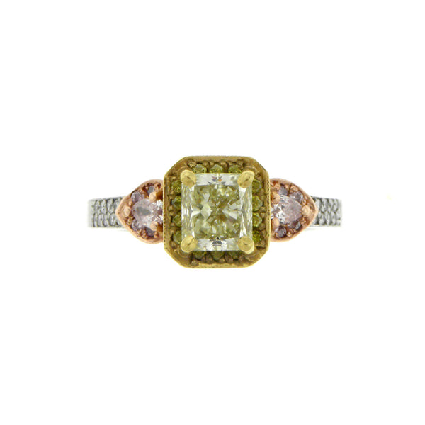 1.13ct. Fancy Yellow Radiant Diamond Ring